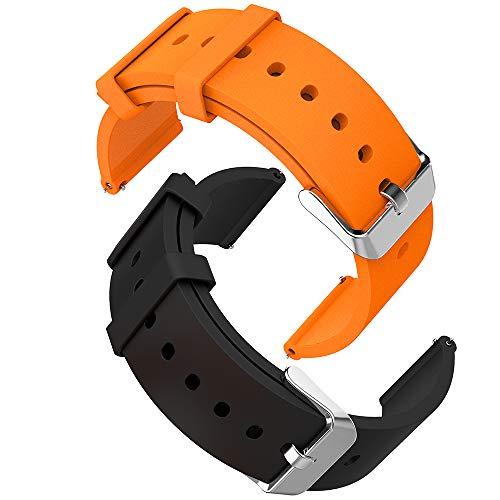 GeeRic Silikon Uhrenarmband 20mm mit Edelstahl,Watch Straps Silikon 20mm,[2 Stück] Uhrenarmband Watch Armband mit Schnellverschluss Schwarz + Orange