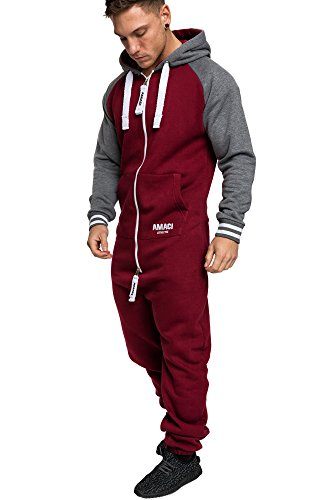 Amaci&Sons Herren Overall Jumpsuit Onesie Jogging Sportanzug Trainingsanzug Jogginganzug 3022 Bordeaux XL