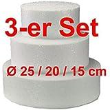 EPS-Zuschnitte rund 3-er Set, Ø 25 / 20 / 15 cm, Styropor