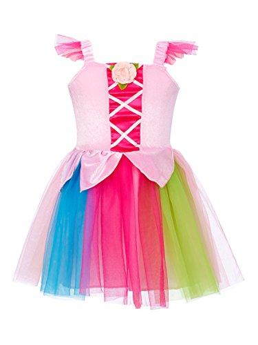 Kostüm Ballerina Rose Rosa - Rose & Romeo-10056-Kostüm für Kinder-Núria-Kleid-Rosa Klare/Mehrfarbig