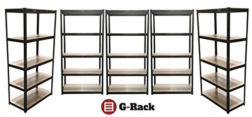 5-bay-180cm-x-90cm-x-45cm-black-5-tier-175kg-per-shelf-875kg-capacity-garage-shed-racking-storage-sh