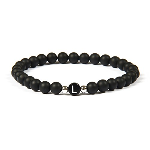 GOOD.designs Namenarmband aus schwarzen Onyxsteinen mit Buchstabenperlen von A-Z , Freundschaftsarmband für deine Liebsten (Buchstabe L) (Perlen Schwarz Armband)