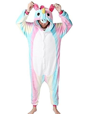 MJTP Süß Einhorn Overall Pyjama Jumpsuits Tier Entwurf Kostüme Schlafanzug Für Kinder Erwachsene Unicsex Karneval Weihnachten Festival Party Kostüme (M, Rainbow (Pyjama Overall)