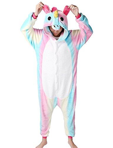 MJTP Süß Einhorn Overall Pyjama Jumpsuits Tier Entwurf Kostüme Schlafanzug Für Kinder Erwachsene Unicsex Karneval Weihnachten Festival Party Kostüme (XL, Rainbow (Kostüme Karneval Festival)