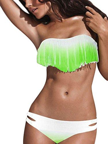 VLUNT Boho Sexy Bustier Bandeau rembourré à franges deux pièces maillot de bain Bikini - Gwwhite