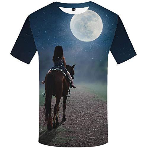 Harajuku Girl Kostüm - Art Casual Abstract T-Shirt Printed T-Shirt 3D Harajuku Anime Costume Fashion Short Sleeve Summer Top Girl Riding a Horse to The Moon