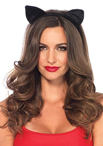 Leg Avenue A2783 - Samt Haarreif mit Katzenohren, Damen Karneval Kostüm Fasching, Einheitsgröße, schwarz