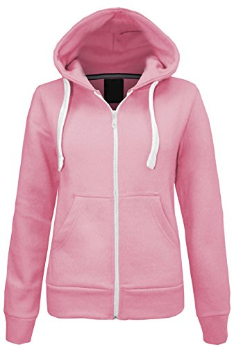 Superglamclothing Made by Purl® New Womens Ladies Plain Casual Hoodie Fleece Pockets Sweatshirt Long Sleeve Hooded Coat Hoodys Zip Jacket Coat Plus Size UK 8-22