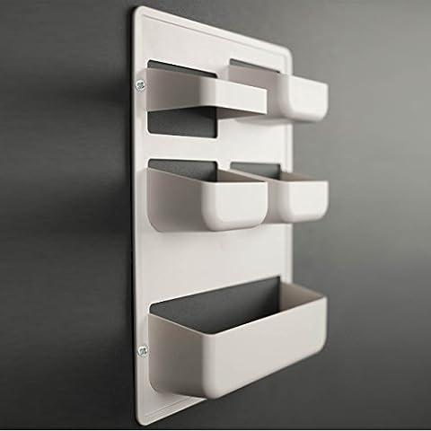Caja multibolsillo HAPPY POCKET by Kreall color BLANCO en plástico. Diseño y fabricación Made in Italy. Con accesorios para el montaje en la puerta y la pared.