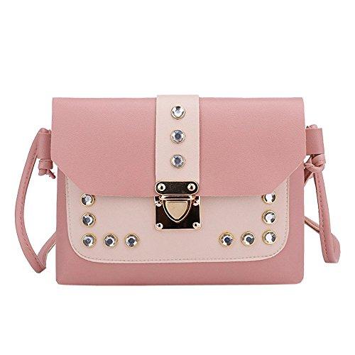 EUTUOPU Fashion Women Girl Hasp Handbags Hit Color Rhinestone Shoulder Bag Messenger Satchel Tote Crossbody Bag -