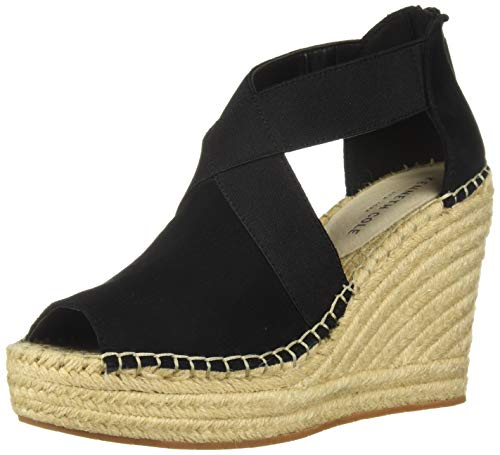 Kenneth Cole New York Damen Perf Wedge Olivia 2 perforierte Stretch-Espadrille-Sandalen mit Keilabsatz, schwarz, 35.5 EU Womens Olivia Peep Toe