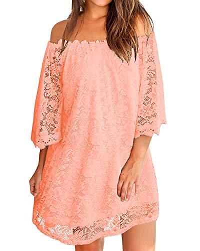 ZANZEA Damen Schulterfrei Kleid mit Spitze 3/4 Arm Transparent Abend Party Oberteil Mini Kleider 02-rosa Large