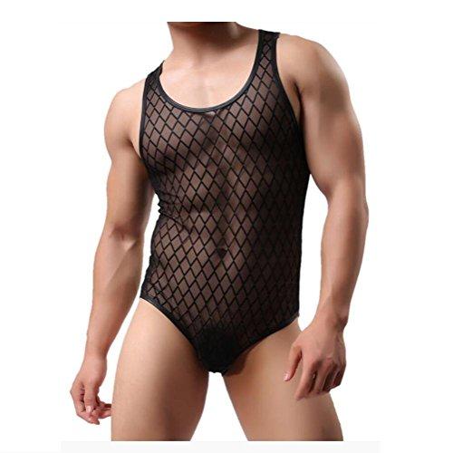Tuta in maglia da uomo alta aderente con taglio a maglie body tuta canotta tuta in maglia tuta da allenamento superfine modale fitness , black , m