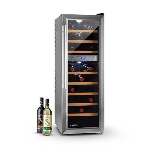 Klarstein Reserva 27D • Weinkühlschrank • Getränkekühlschrank • 76 Liter • 27 Flaschen • 2 Zonen • 8 Holzeinschübe • LED-Beleuchtung • freistehend • sehr leise • LCD-Display • Innentemperaturanzeige • verstellbare Standfüße • schwarz-silber