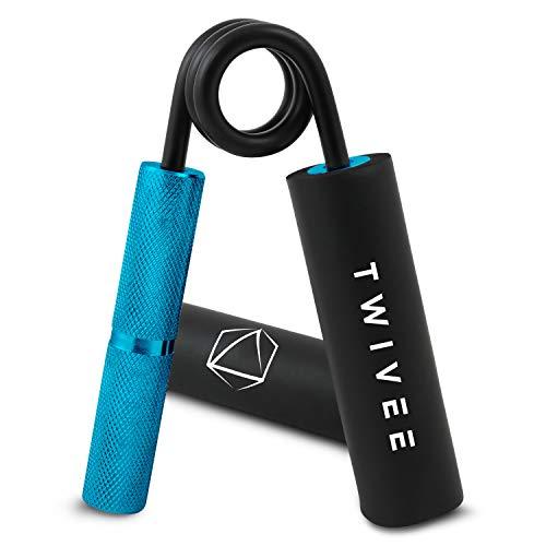 TWIVEE - Fingerhantel für maximale Griffkraft - Unterarmtrainer mit Griffpolster und Tasche - Gripper aus gehärtetem Stahl und Aluminium - Handtrainer - Handmuskeltrainer (Blau/Schwarz, 200 lbs)