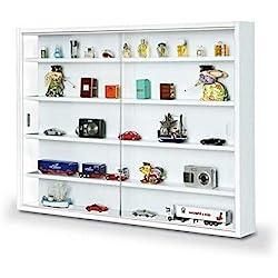Easy Home Simply Vitrina de madera MDF y vidrio, Blanco, 80 x 9.5 x 60 cm