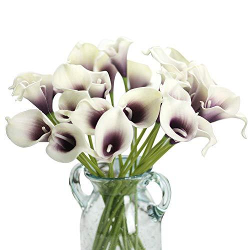 Gemdragon Unechte Blumen,Künstliche Deko Blumen Gefälschte Blumen Seiden Plastik Calla-Lilie Braut Hochzeits blumenstrauß für Haus Garten Party Blumenschmuck 12 Stück (Lila & Weiß)
