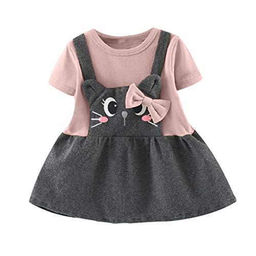 squarex Kleinkind Kinder Baby Mädchen Kinder Kurzarm Nette Katze Bogen Patchwork Prinzessin Kleider Kleidung Gefälschte Zweiteilige