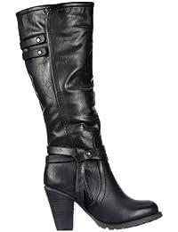 Onlineshoe dames des femmes hautes genou élevé des bottes de motard avec des sangles et des talons - noir, bronzage, brun