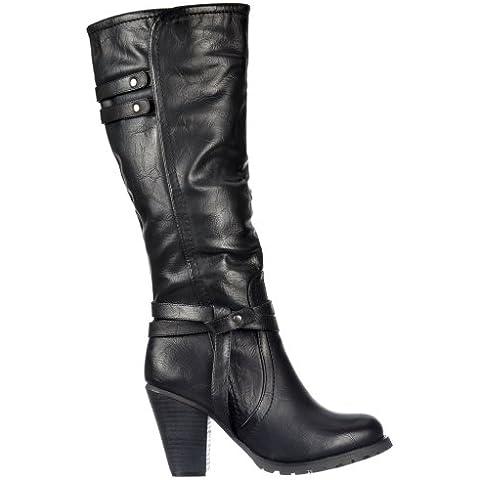 Onlineshoe señoras de las mujeres altas rodilla Botas altas del motorista con las correas y tacón - Negro, beige,