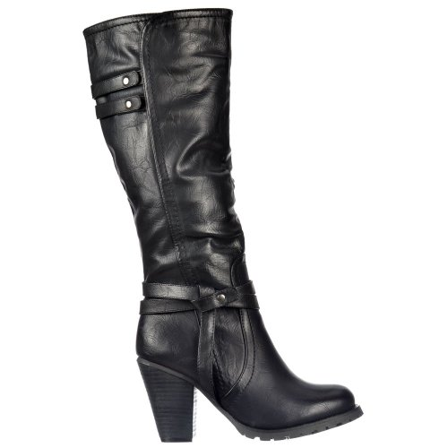 Onlineshoe Womens Ladies Tall Knee High Biker Boots With Straps and Heel...