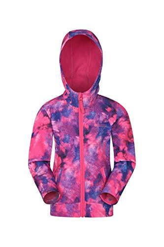Mountain Warehouse Exodus Gemusterte Kinder-Softshell-Jacke - windabweisende Jacke, atmungsaktive Kapuzenjacke, Wasserabweisende Jacke - ideal im Urlaub & zum Wandern Lila Licht 116 (5-6 Jahre)
