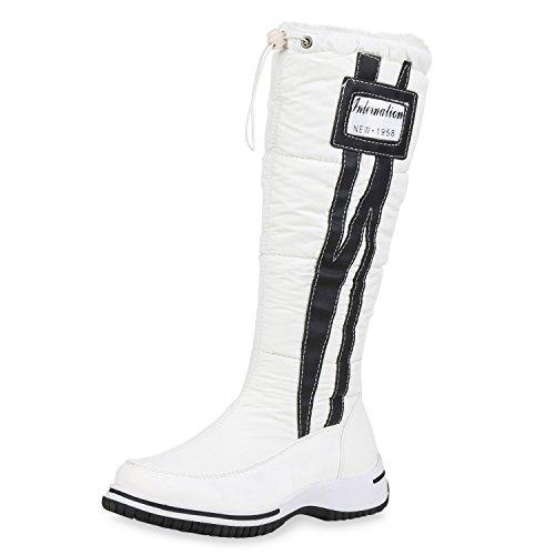 SCARPE VITA Damen Stiefel Warm Gefütterte Winterstiefel Prints Profilsohle Schuhe Bequeme Freizeitschuhe Boots 165486 Weiss 37