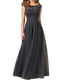 Gorgeous Bride Elegant Lang Brautmutterkleid A-Linie Tuelle Spitze Abendkleider Festkleid Ballkleid