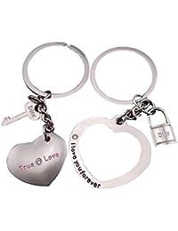 kanggest 2 Couples Porte-clés Pendentif en Forme de cœur Porte-clés Porte- 6922f120223