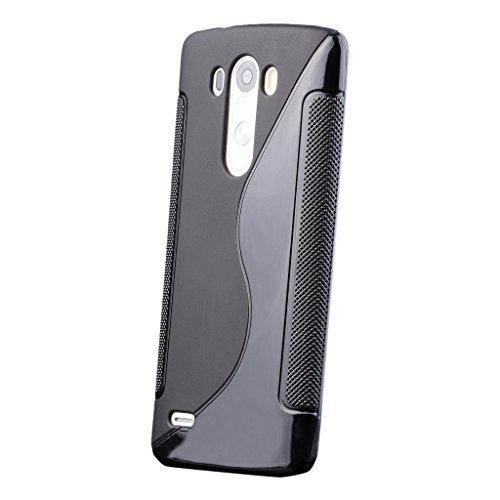 LG G3 | iCues S-Line Black Case Schwarz | [Display Schutzfolie Inklusive] Silikon Gel Schutzhülle Hülle Cover Schutz