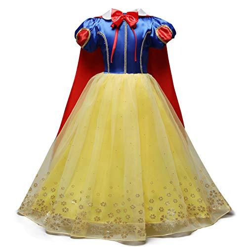 QSEFT Schneewittchen Kleid Mädchen Prinzessin Geburtstag Party Kinder Kleid Kinder Halloween Cosplay Kostüm Dress up 3-8 Jahre Alt,140