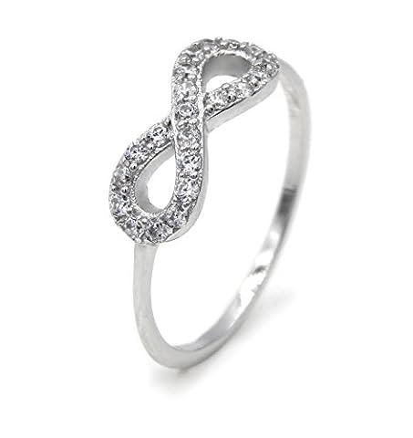 Ring Infinity 925 Sterling Silber 21 Zirkonia Unendlich Eternity Silberring Verlobungsring Ringe Damen (56 (17.8))
