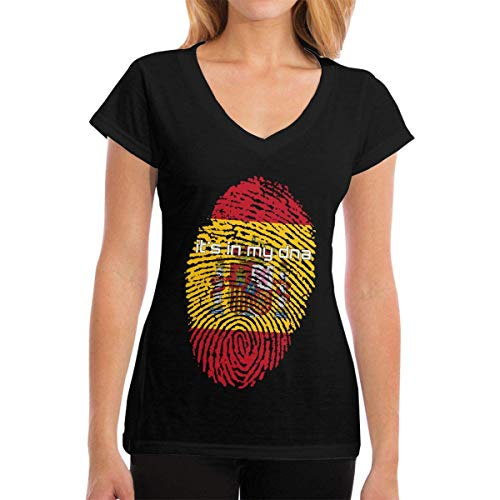 T-Shirts Spain Flag It's in My DNA Fingerprint Women's Casual Damenmode Kurzarm V-Ausschnitt T-Shirts - Ecko Jungen Shorts