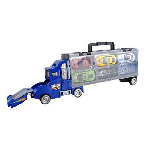 Toyvian Spielzeug LKW Auto mit 6 Legierung Limousine Auto Katapult Kampf Cargo Truck Modellautos Tragbare Aufbewahrungsbox für Kinder Jungen (Bliue) - Cargo-zubehör Truck