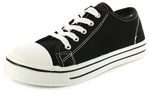 New Older Boys/Childrens Black Lace Ups Canvas Upper Fashion Shoes. - Black/White - UK SIZE 4