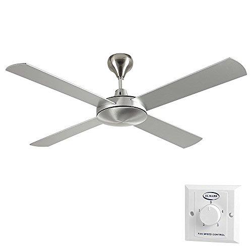 MiniSun - Moderno ventilatore di soffitto di grandi dimensioni (132cm) - in alluminio, con 4 pale, finitura spazzolata ed interruttore a parete