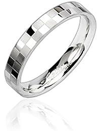 Paula & Fritz anello in acciaio chirurgico 316L argento 4 mm Larghezza scacchi diamanti anello Taglie disponibili 47 15 69 22 R8002