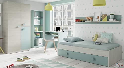 Miroytengo Pack Muebles Dormitorio Juvenil Completo Color Verde y Blanco con somieres 90x190 Cama...