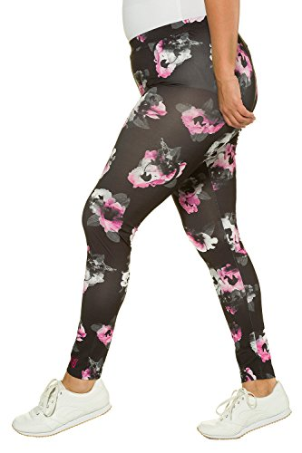Ulla Popken Damen Sport Leggings Blumendruck Multicolor