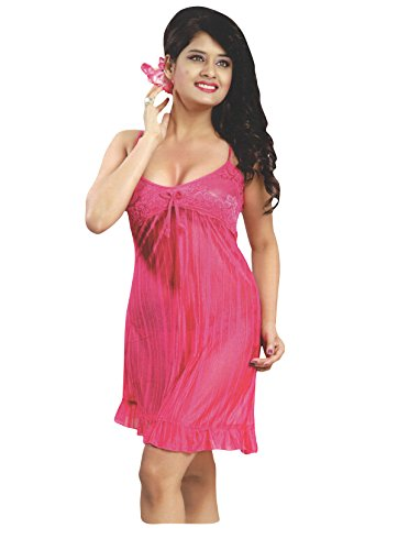 Indiatrendzs Women Sexy Transparent Pink Hot Short Night Dress With Lingerie set Pack Of 3