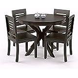Woodstage Sheesham Wood 4 Seater Round Dining Table Set for Living Dining Room Dining Table 4 Seater (Walnut Finish)