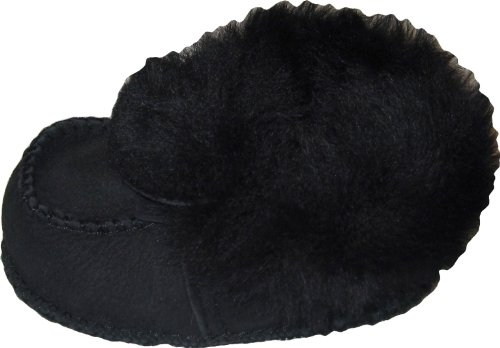 Plateau Tibet - VERITABLE laine d'agneau Bottines Chaussures Chaussons en cuir souple pour bébé garçon fille enfant taille 18 19 Black (Noir)