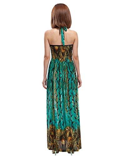 Moollyfox Femme Maxi Robe Bohème Paon Imprimé Halter Dos Nu Sexy Col V Grande Taille Robe de Plage Vert