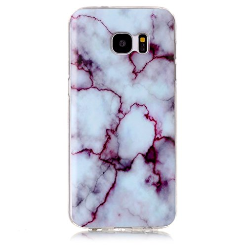 Samsung Galaxy S6 Case [with Free Screen Protector],Mo-Beauty® Marble Pattern Design Flexible Soft TPU Silicone Rubber Slim Fit Protective Cover Case for Samsung Galaxy S6 (Purple)