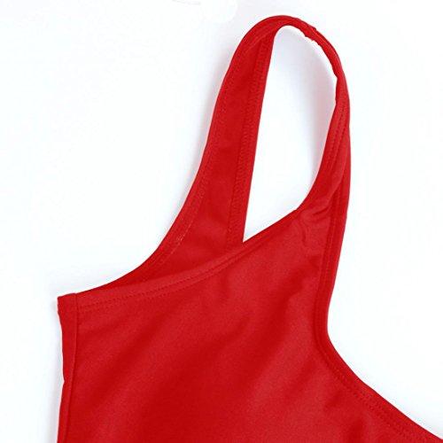 Costumi da bagno Bikini, BYSTE Estate Donna Trikini Un Pezzo Monokini Costumi da Bagno Indietro Costume Intero Push up Sexy One Piece Coordinati,Tinta unita tuta senza schienale Rosso