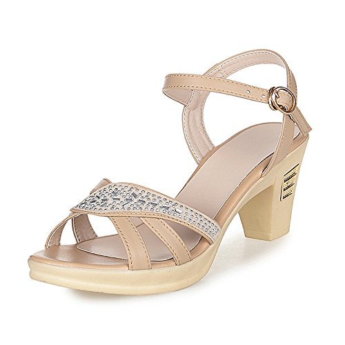 XY&GKSandalen Damen Sommer Ferse Mama's Sandalen aus echtem Leder Größe Middle-Aged Strass Sandaletten High Heel Damen Sandalen, komfortabel und schön 40 Camel