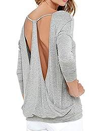 ALIKEEY Harrystore Mujeres Casual Mangas Completas O-Cuello Sin Espalda Camiseta Blusa Tops Damas Color