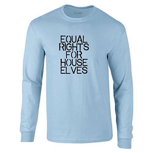 Equal Rights For House Elves, Erwachsene Langarm-T-Shirt, Hellblau/Schwarz, M-96-101cm