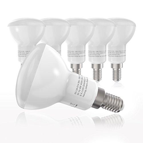 LED Leuchtmittel I E14 Lampenfassung I Glühbirnen I 5 x 6 W Lampen à 450 Lumen I warm-weiß leuchtende Glühlampen I 5er Pack I ersetzen 40 W Leuchten I Reflektorform