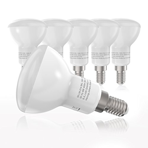 LED Leuchtmittel I E14 Lampenfassung I R50 I 450 Lumen I Glühbirnen I 5 x 6 W Lampen à 450 Lumen I warm-weiß I 5er Pack I ersetzen 40 W I Reflektorform